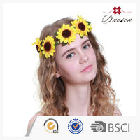 2016 New Design Fabric Artificial Decoration Daisy Flower Hair Wreath&Hair Garland For Girls On Wedding Party Travel Occassion