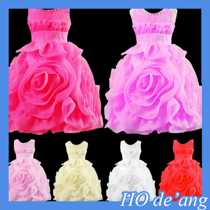 HOGIFT lace tops with chiffon ruffle baby girl wedding dress Baby Girls Off-Shoulder Dress Kids Party Wear Puffy dress