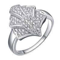 Personalized Jewellery Design Silver Pine Tree Shaped Diamond Ring For Best Friends