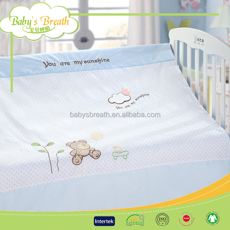 BBS321 100% cotton fabric elephant design baby round crib bedding, china textile bedding