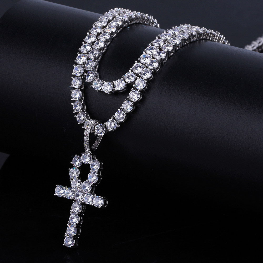 O.B.Jewelry-Real Gold Plating Hip-Hop Necklace Clear Zircon Christian Cross Necklace