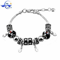 European Style Charm 925 Silver Plating Snake Chain with black flower New Charm Beads Bracelets,fancy chain bracelet for girls
