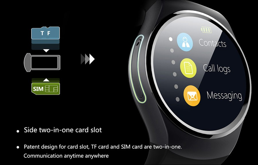 Best quality 1.3 inch IPS 3G IOS and Android OS moblie phone smartwatch
