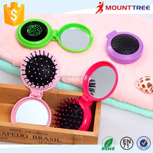 Yiwu Wholesale High Quality Mini Round Shape Folding ABS Head Massage Comb with Mirrow