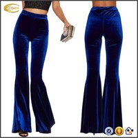Ecoach Wholesale OEM European Style New Product Fashion Women High Waist Slim Solid Fit Soft Bell Bottom Flare Pants