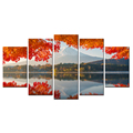 Red Maple Giclee Artwork Mount Fuji Canvas Painting Nature Scenery Canvas Prints Wholesale for Living Room Decoration 5 Panels