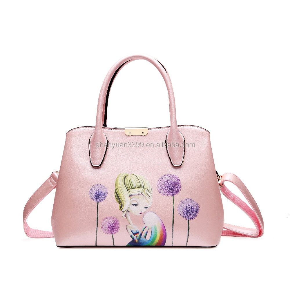 2016 Alibaba china ladies handbags,PU leather tote bags with cartoon girl,multifunctional shoulder bag