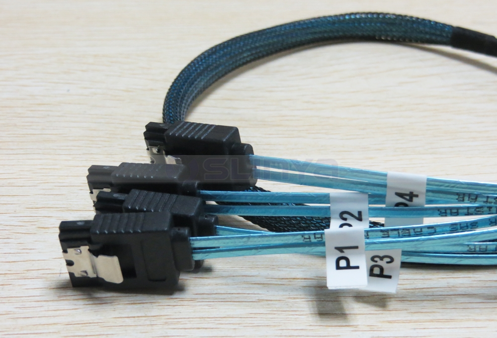 Blue Internal HD Mini SAS SFF 8643 Host to 4x SATA 7Pin Target Forward Fanout Cable for Hard Drive Controller