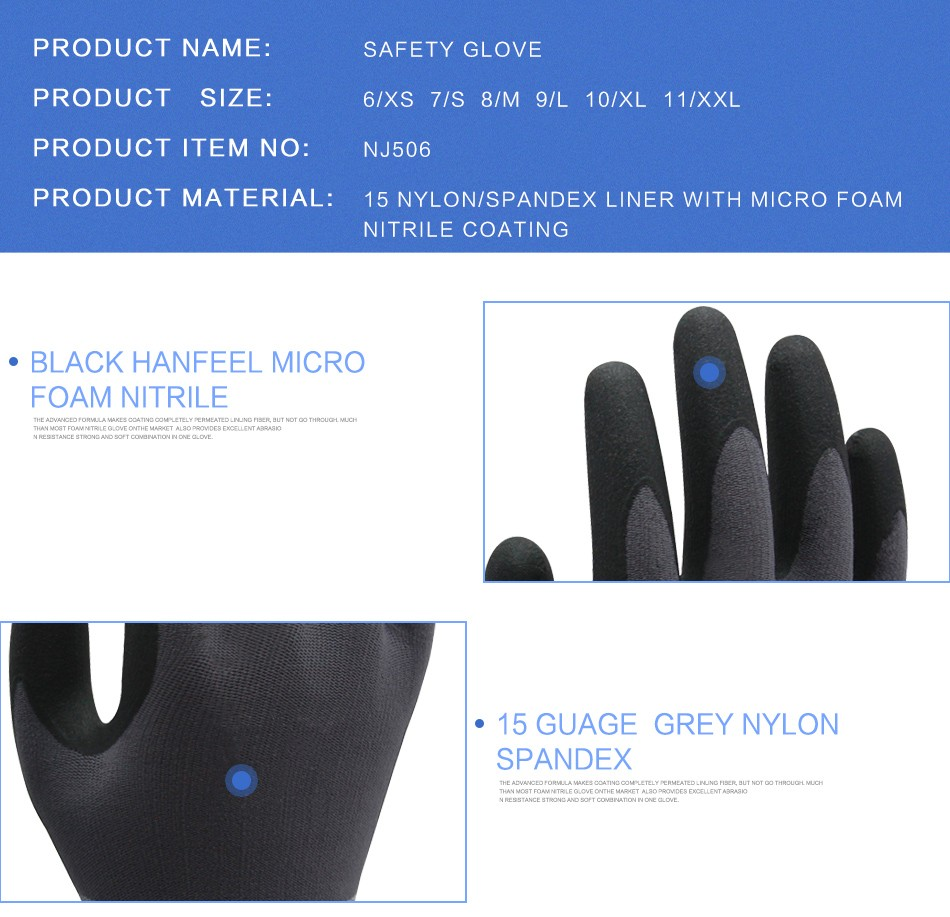 Wholesale HANVO Brand black nitrile micro foam palm coated safety working gloves