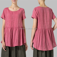 Ladies Lovely Gauzy Knit Plain Short Sleeve Flowing Pleated Tunic Top Linen Fashion Cutting Designs Blouse For Office Wear