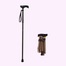 Collapsible switch sticks folding walking stick with T handle