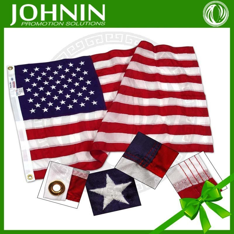 Custom Polyeater Fabric Embroidered Good Quality 3*5 ft USA Flag