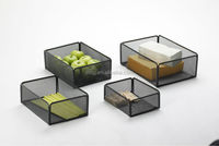 metal mesh home black rectangle stackable storage bins