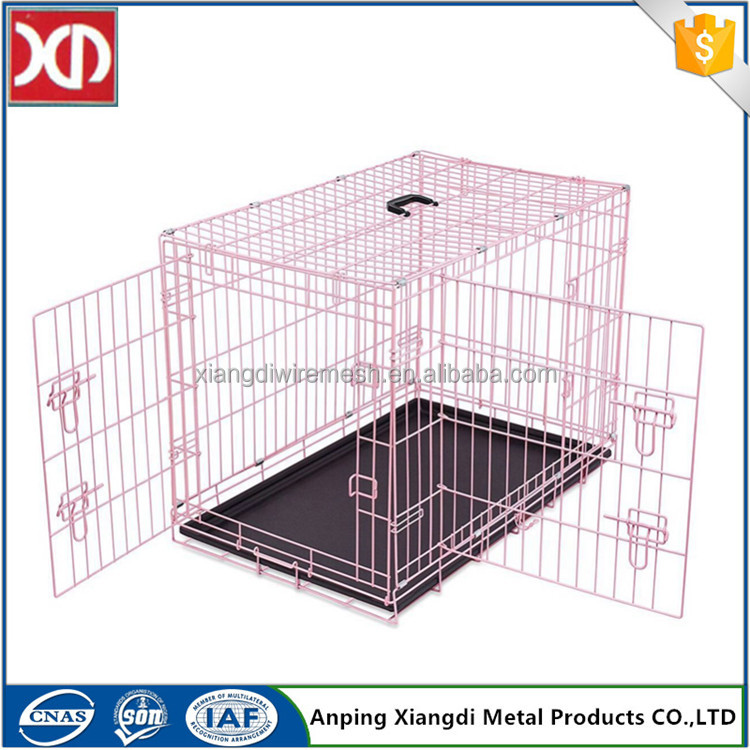 Color foldable aluminium dog cage with two doors