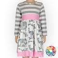 Kids Girl Long Sleeve Gray Striped Cotton Dress Boutique Fall Deer Print Party Wear Dresses For Girls Of 2-6 Years