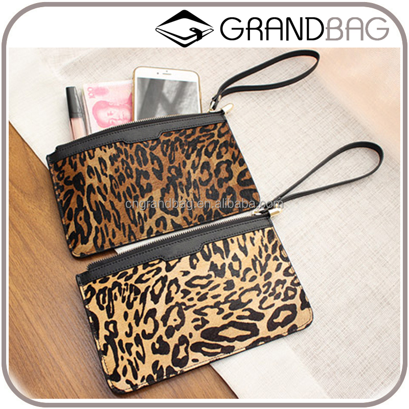 hot sell classic leopard black genuine horse hair leather wristlet pouch clutch bag