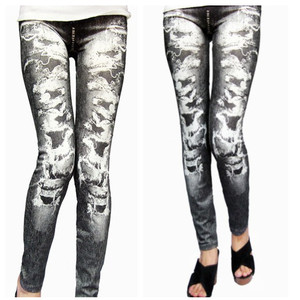 seamless good stretch denim jean black fake hole print cheap leggings for women 2017