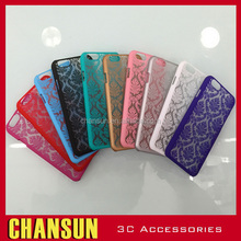 Fashion Plastic Bumper Flower Pattern Frost Lace PC Back Cover for iPhone 7 Case