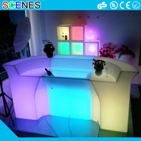 Hot sale modern recharged plastic night club furniture led illuminated bar counter