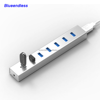 aluminum case 7 port usb hub for pen drive and card reader ,super speed 5Gbps usb 3.0 hub