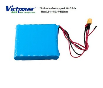 Lithium ion 60v 2.9ah battery pack for unicycle scooter