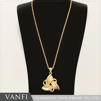 Hot sale long chain jewelry gold alloy triangle crystal pendant necklace