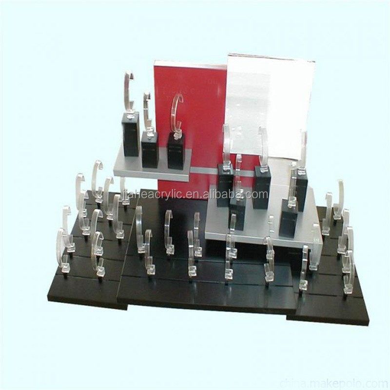 New custom acrylic watch display stands holder plexiglass countertop watch rack