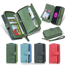 high quality PU leather unisex zipper mobile phone case card holder wallet cell phone case with wrislet handle