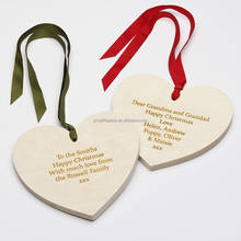 2017 fashion hot eco-friendly handmade wholesale Christmas decorations family ornaments carved wood shape hearts made in China
