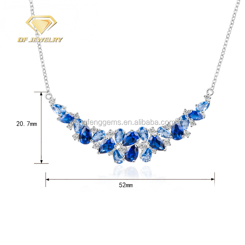 Sapphire Blue CZ Fashion Necklace Silver Pendant