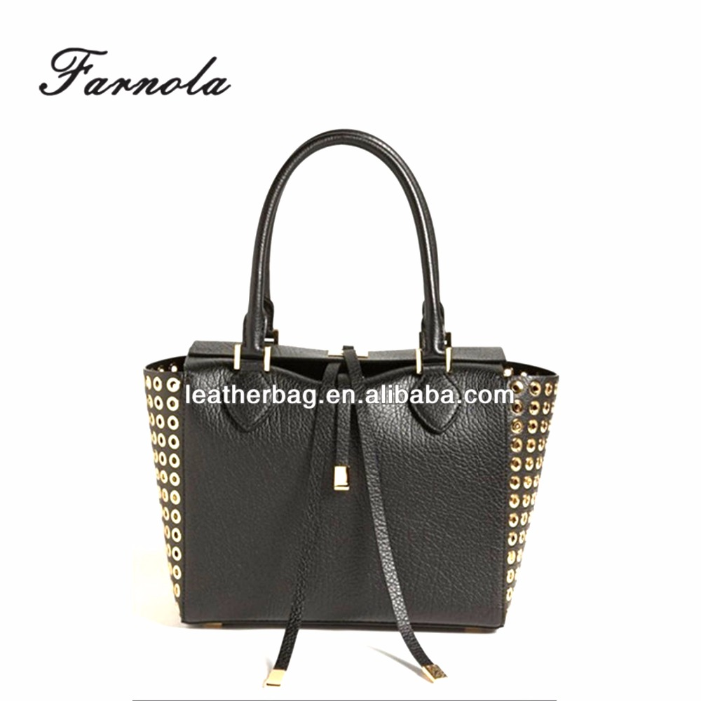 China Factory Wholesale Cheap Handbags Rivet studs tote bag With Genuine Leather Elite Handbags(AFY059)