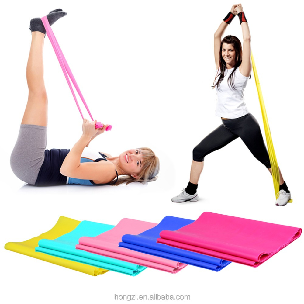 2017 hot 1.2m Elastic Yoga Pilates Rubber Stretch Exercise Band Arm Back Leg <strong>Fitness</strong> All thickness 0.35mm same resistance