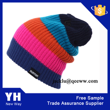 Custom NEW YORK acrylic jacquard stripe knit pom pom beanie hat bobble hat