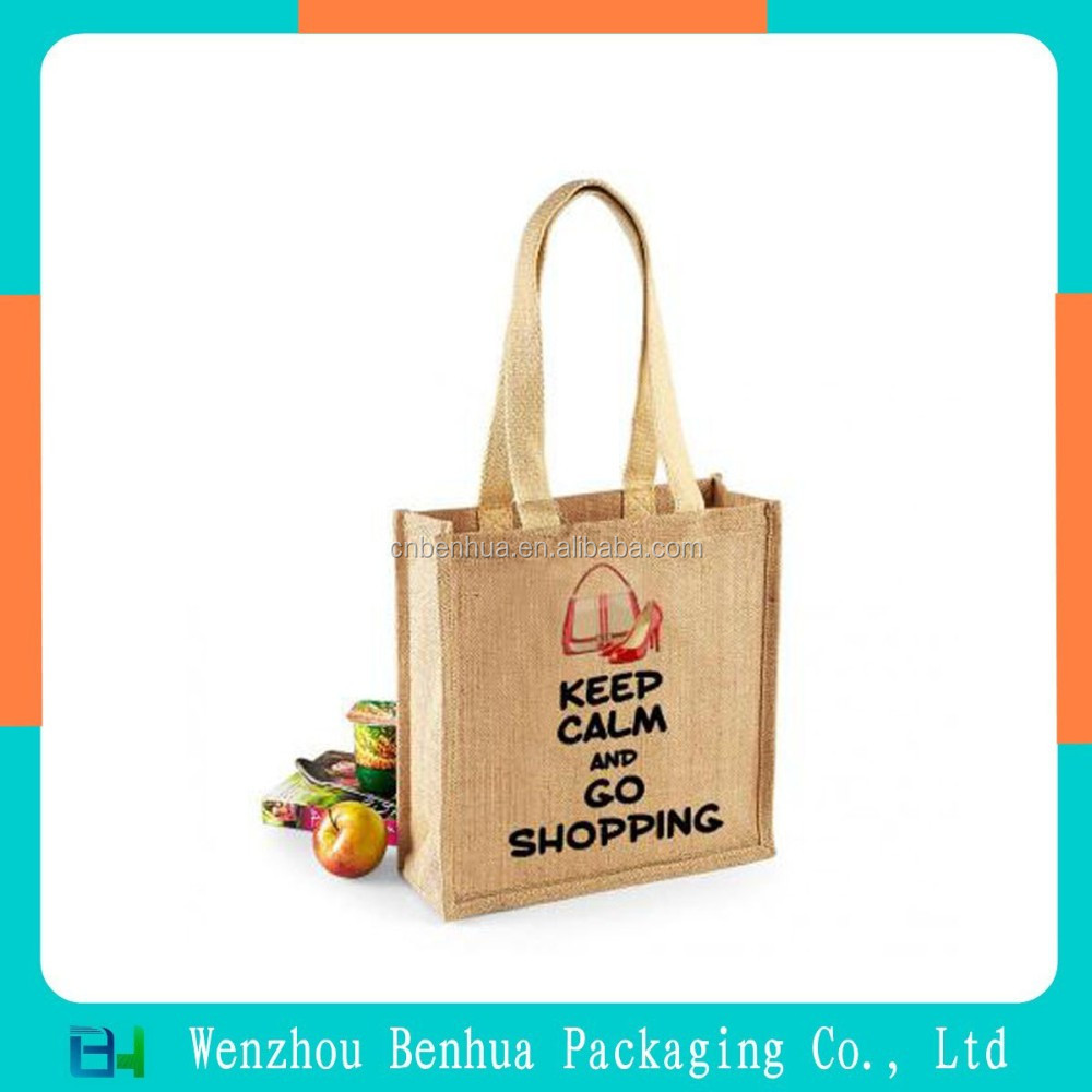 Custom Logo Print Jute Shopper Tote Bag