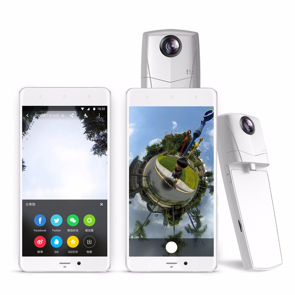 Mini 360 Video Camera HD Panoramic Panorama VR Camera 360 with 220 Degree Dual Wide Angle Fisheye Lens for Android phone
