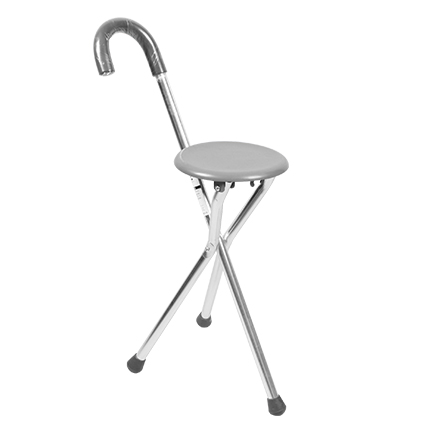 Cofoe Folding Stool Elderly Tripod Walking Stick With Seat Tripod Canes