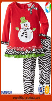 wholesale happy snow man pattern baby girls gift Christmas child clothes fall outfits