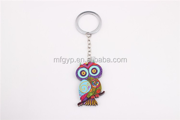 facny acrylic process keyrings cute owls acrylic wholesaler key chains factory