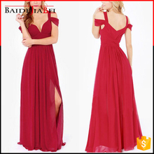 New style luxury female four colours chiffon fold deep V neck cocktail long dress