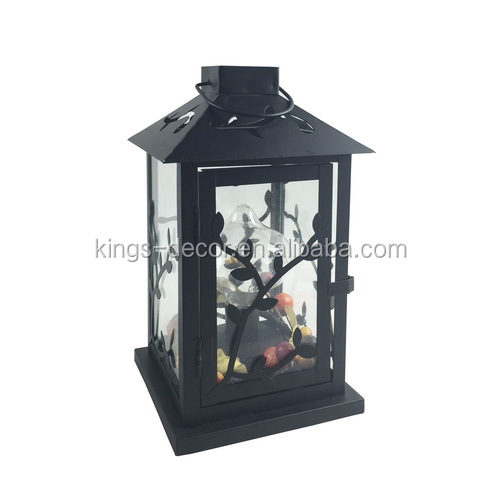 Black hanging metal candle lantern with leaf design for christmas decor