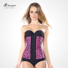 S-SHAPER New Arrival Latex Waist Trainer Leopard Print Steel Bone Waist Training Corset