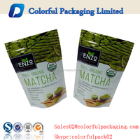 Custom stand up matcha tea bag with ziplock/possess Chinese flavours tea bag