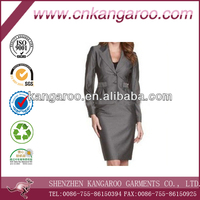 Ladies' 100% wool pretty slim skirt suit for office lady