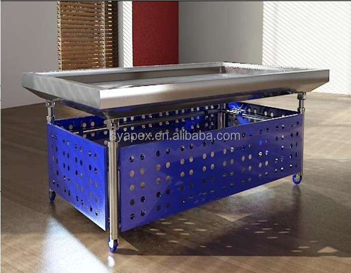 APEX custom make commercial supermarket restaurant stainless steel fresh frozen chicken display table