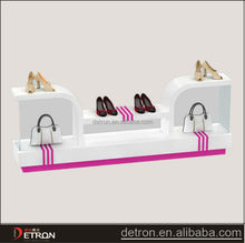 Floor display wood bag shoe stand for shop