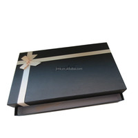 Luxury rigid board hot foil stamping embrossing fancy paper gift box with ribbon bowknot
