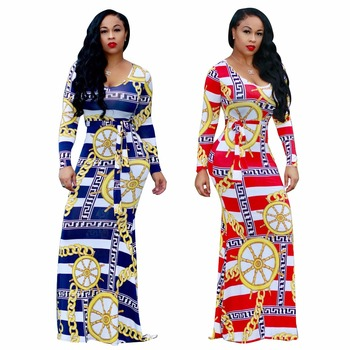 wholesale 2017 women sexy floral printed party wear belted long sleeve maxi dress