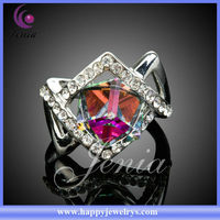 HOTTEST! 2013 MOST CHARMING WEDDING RING WITH 18K WHITE GOLD PLATED COLORFUL AUSTRIAN CRYSTAL (XR033)