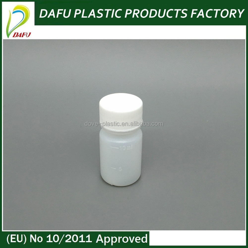 10ml Small Liquid Medicine PE Plastic White Bottle