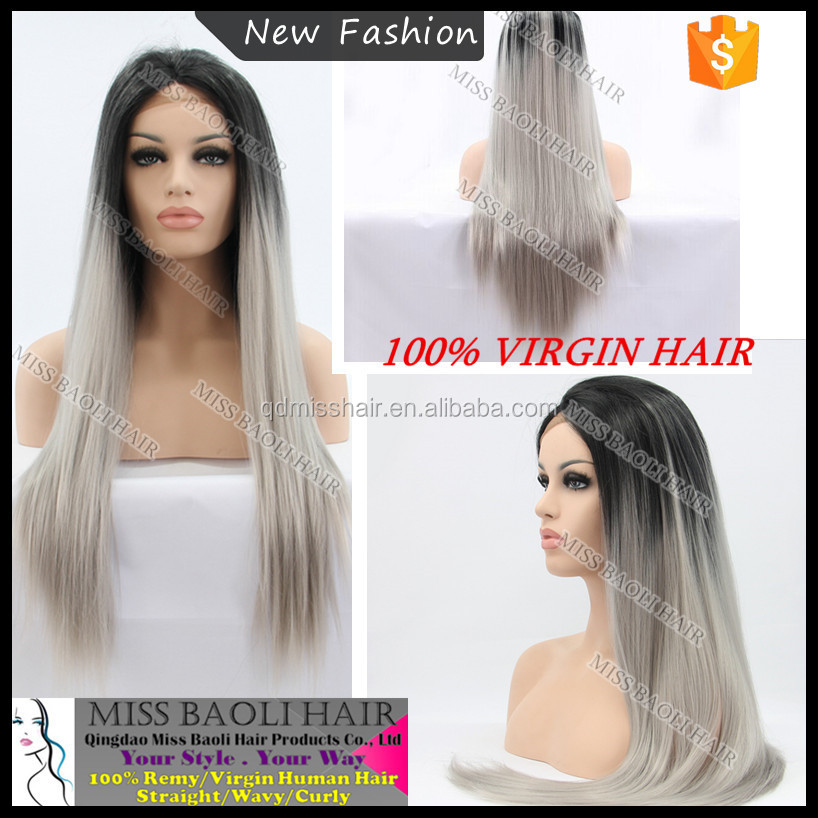 Ali Trade Assurance Paypal Accepted Cuticles Remy Hair Tangle Free No Shedding Factory Price Professional Grey Ombre Wig